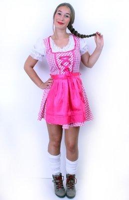 bf3542e6954ad9 tiroler jurk lang lena roze wit ruitje met roze schort maat 38 - De Bergse  Dumphal