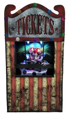 Animated clown ticket seller