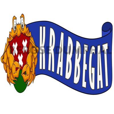 KRABBEGAT MET KRAB BLAUW VAANDEL PATCH 23 CM
