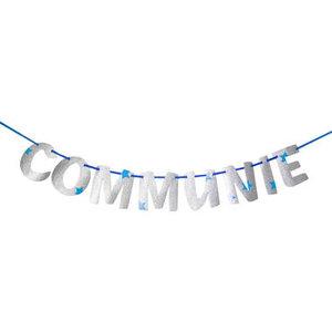 Letterbanner Communie blauw