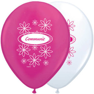 Ballonnen Communie 8 st roze/wit